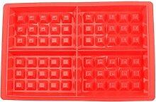 QHGstore Platz DIY Silikon-Backform Waffeln Kuchen-Schokoladen-Pan-Backen-Form Werkzeuge