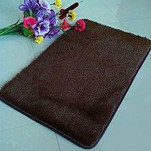QHGstore Pleuche Anti Rutsch Schlafzimmer Teppich Tür Wolldecke Staubdichtes Plüsch Bad Bodenmatte Kaffee 50*80cm
