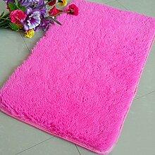 QHGstore Pleuche Anti Rutsch Schlafzimmer Teppich Tür Wolldecke Staubdichtes Plüsch Bad Bodenmatte Rose 40*60cm