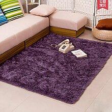 QHGstore Pleuche Anti Rutsch Schlafzimmer Teppich Tür Wolldecke Staubdichtes Plüsch Bad Bodenmatte lila grau 40*60cm