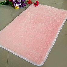 QHGstore Pleuche Anti Rutsch Schlafzimmer Teppich Tür Wolldecke Staubdichtes Plüsch Bad Bodenmatte Rosa 50*80cm