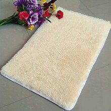QHGstore Pleuche Anti Rutsch Schlafzimmer Teppich Tür Wolldecke Staubdichtes Plüsch Bad Bodenmatte Beige 50*80cm