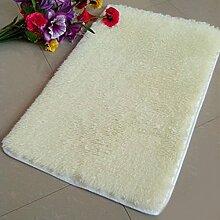 QHGstore Pleuche Anti Rutsch Schlafzimmer Teppich Tür Wolldecke Staubdichtes Plüsch Bad Bodenmatte Weiß 50*80cm