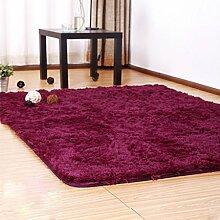 QHGstore Pleuche Anti Rutsch Schlafzimmer Teppich Tür Wolldecke Staubdichtes Plüsch Bad Bodenmatte Wein 50*80cm