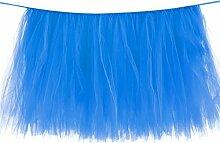 QHGstore Tulle Tutu Tisch Rock Solid Color Tischdecke für Hochzeitsfest Geburtstag Dekoration blau 100*80cm