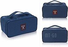 QHGstore Unterwäsche BH-Tasche Kosmetik Make-up Kits Werkzeuge Aufbewahrungskoffer Dunkelblau