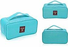 QHGstore Unterwäsche BH-Tasche Kosmetik Make-up Kits Werkzeuge Aufbewahrungskoffer Blau