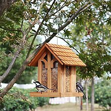 QHWJ Hängende Vogelfutter Feeders, Holz-Pavillon