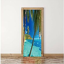 QHWLKJE 3D Tür Folie Kokosnussbaum am Meer