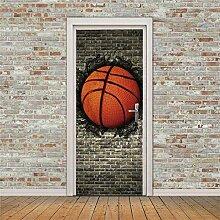 QHWLKJE 3D Tür Folie Kreativer Basketball