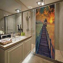 QHWLKJE 3D Tür Folie Sonnenscheinbrücke