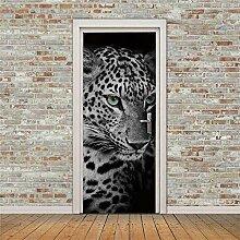 QHWLKJE 3D TüraufkleberTierleopard Türtapeten