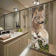 QHWLKJE 3D TüraufkleberTierwolf Türtapeten