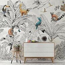 QHZSFF 3D Wandbild Tapete Bemalte Tiere & Blätter