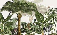 QHZSFF 3D Wandbild Tapete Kokospalmen & Tiere
