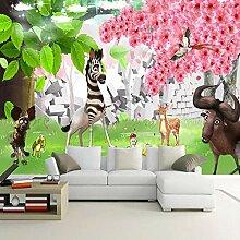 QHZSFF Fototapete 3d Effekt, Cartoon-Tiere Tapete