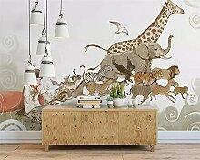 QHZSFF Tapete 3D-Wand Laufende Tiere Größe:B200