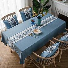 QIANC Tischtuch Baumwolle Leinen Tischdecke