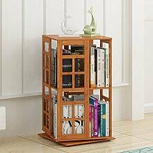 QIANGDA Drehbar Bücherregal Bambus Bücherschrank