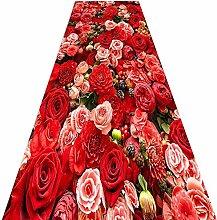 QiangDa Läufer Flur Teppich Blumenmuster