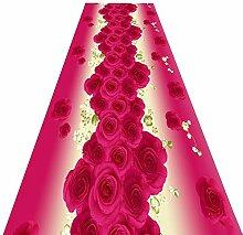 QiangDa Läufer Flur Teppich Hochzeit Blumenmuster