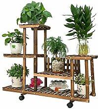 QiangDa Pflanze Regal- Antistatische Holzböden mit Rädern Mobile Chlorophytum Mehrfarbige grüne Bonsai Blumenregale Balkon Wohnzimmer Blumenregale Eingelegtes Regal kreatives Blumengestell