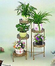 QiangDa Pflanze Regal- Bügeleisen Blumenhalter Innenbalkon Wohnzimmer Blumenschale Rahmen Multi - Layer Europäische - Stil Blumentopf Regal Eingelegtes Regal kreatives Blumengestell ( Farbe : Bronze )