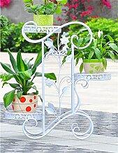 QiangDa Pflanze Regal- Bügeleisen Wohnzimmer Blumentopf Halter Europäisch - Stil Wohnzimmer Einfache Balkon Blumentöpfe Regal Eingelegtes Regal kreatives Blumengestell ( Farbe : Weiß )
