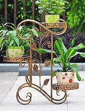 QiangDa Pflanze Regal- Bügeleisen Wohnzimmer Blumentopf Halter Europäisch - Stil Wohnzimmer Einfache Balkon Blumentöpfe Regal Eingelegtes Regal kreatives Blumengestell ( Farbe : Bronze )