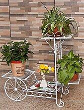 QiangDa Pflanze Regal- Continental Iron Fahrrad-Modelle Boden Flower Pot Regal, grün Dill hängende Orchidee Rack, Pflanzen stehen für Innen-, Wohnzimmer, Balkon Eingelegtes Regal kreatives Blumengestell ( Farbe : Weiß , größe : S )