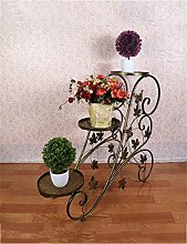 QiangDa Pflanze Regal- Drei-stöckigen Wohnzimmer-Balkon Balkon Eisen Trapez-Blumen-Racks Eingelegtes Regal kreatives Blumengestell ( Farbe : Bronze )