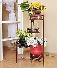 QiangDa Pflanze Regal- Eisen-Blumen-Feld Innen-und Outdoor-europäischen Stil Blumentöpfe Frame Eingelegtes Regal kreatives Blumengestell ( Farbe : Messing , größe : B )