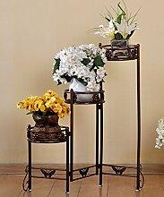 QiangDa Pflanze Regal- Eisen-Blumen-Feld Innen-und Outdoor-europäischen Stil Blumentöpfe Frame Eingelegtes Regal kreatives Blumengestell ( Farbe : Messing , größe : A )