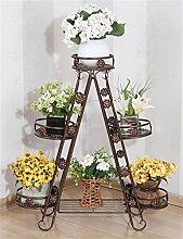 QiangDa Pflanze Regal- Eisen-Blumen-Rack Multi - Storey Blumentöpfe Regal Europäischen Balkon Wohnzimmer Blume Racks Eingelegtes Regal kreatives Blumengestell ( Farbe : Braun )
