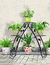 QiangDa Pflanze Regal- Eisen Blumenhalter Multi-Layer-Indoor-und Outdoor-Wohnzimmer Balkon Blumentopf Regal Europäische Modern Flower Rack Eingelegtes Regal kreatives Blumengestell ( Farbe : Schwarz )