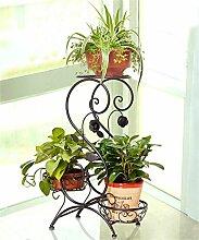 QiangDa Pflanze Regal- Eisen-Blumentöpfe mehrschichtige Wohnzimmer Balkon Blumenständer Eingelegtes Regal kreatives Blumengestell ( Farbe : Schwarz )