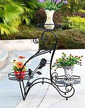QiangDa Pflanze Regal- Eisen Blumentopf Regal Drei - Story Wohnzimmer Balkon Blumentopf Regal Eingelegtes Regal kreatives Blumengestell ( Farbe : Schwarz , größe : 80*73cm )