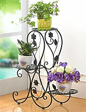 QiangDa Pflanze Regal- Europäische Eisen Blumentöpfe Rack Multilayer Wohnzimmer Balkon Blumentopf Regal Eingelegtes Regal kreatives Blumengestell ( Farbe : Schwarz )