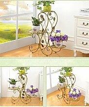 QiangDa Pflanze Regal- Europäische Eisen Blumentöpfe Rack Multilayer Wohnzimmer Balkon Blumentopf Regal Eingelegtes Regal kreatives Blumengestell ( Farbe : Bronze )