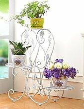 QiangDa Pflanze Regal- Europäische Eisen Blumentöpfe Rack Multilayer Wohnzimmer Balkon Blumentopf Regal Eingelegtes Regal kreatives Blumengestell ( Farbe : Weiß )