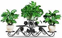 QiangDa Pflanze Regal- Europäische-Stil Blume Rack Eisen Mehrstöckige Modern Living Room Flower Pot Rack Eingelegtes Regal kreatives Blumengestell (Farbe : Schwarz, größe : 100cm)