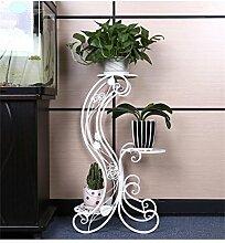 QiangDa Pflanze Regal- Europäische - Stil Blumenbeet Schlafzimmer Wohnzimmer Mehrstöckige Eisen Blumentöpfe Balkon Blumenregale Eingelegtes Regal kreatives Blumengestell (Farbe : Weiß)