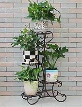 QiangDa Pflanze Regal- Europäische - Stil Blumenhalter Eisen Mehrstöckige Balkon Wohnzimmer Blumen Töpfe Rahmen Indoor Blumentöpfe Regal Eingelegtes Regal kreatives Blumengestell ( Farbe : Schwarz , größe : 82cm )
