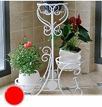 QiangDa Pflanze Regal- Europäische - Stil Bügeleisen Mehrstöckige Folding Blumentopf Rack Balkon Blumentöpfe Frame Solid Wood Flower Racks Eingelegtes Regal kreatives Blumengestell ( Farbe : Weiß , größe : 68cm )