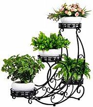 QiangDa Pflanze Regal- Europäische - Stil Eisen Mehrstöckige Balkon Blumentöpfe Regal Einfache Wohnzimmer Blumentopf Racks Eingelegtes Regal kreatives Blumengestell ( Farbe : Schwarz )