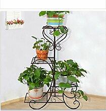 QiangDa Pflanze Regal- Europäische - Stil Eisen mehrstöckigen Blumen Balkon Wohnzimmer Boden Blumenregale Eingelegtes Regal kreatives Blumengestell ( Farbe : Messing )