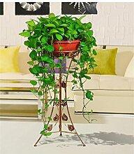 QiangDa Pflanze Regal- Europäische Stil Iron Flower Frame Indoor Wohnzimmer Blumenregale Einschichtige Flowerpot Rack Eingelegtes Regal kreatives Blumengestell (Farbe : Messing, größe : 78cm)