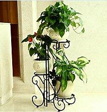 QiangDa Pflanze Regal- Europäische-Stil Kreative Multi-Layer-Balkon Blumenregal Eingelegtes Regal kreatives Blumengestell (Farbe : Schwarz)
