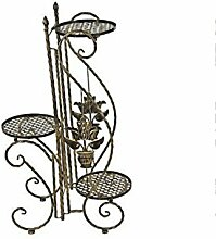 QiangDa Pflanze Regal- Europäischer Stil Garten Eisen Blumenregale Mehrstöckige Balkon Blumenregal Eingelegtes Regal kreatives Blumengestell ( Farbe : Bronze )