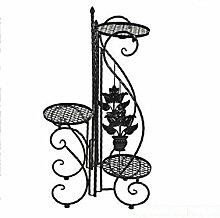 QiangDa Pflanze Regal- Europäischer Stil Garten Eisen Blumenregale Mehrstöckige Balkon Blumenregal Eingelegtes Regal kreatives Blumengestell ( Farbe : Schwarz )